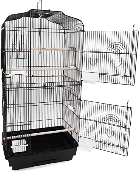 """US 37/"""" Parrot Canary Parakeet Finch Bird Cage w// Wood Perches /& Food Cups Swing"""