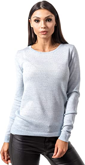 KNITTONS Women's Merino Wool Classic Lightweight Crew Neck Sweater Pullover