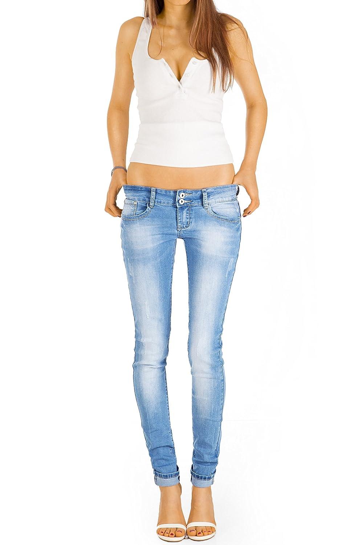 Damen Jeans Hose Röhre Röhrenjeans Niedrig Hüftig  Blau 36 38 40 42