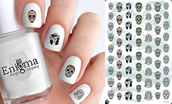 Sugar Skull Nail Art Decals Tattoo Set Of 63 Clear Waterslide