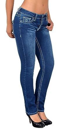 ea21f08c577dc5 ESRA Damen Jeans Hose Straight Leg Damen Jeanshose Dicke Naht viele Farben  bis Übergröße J540
