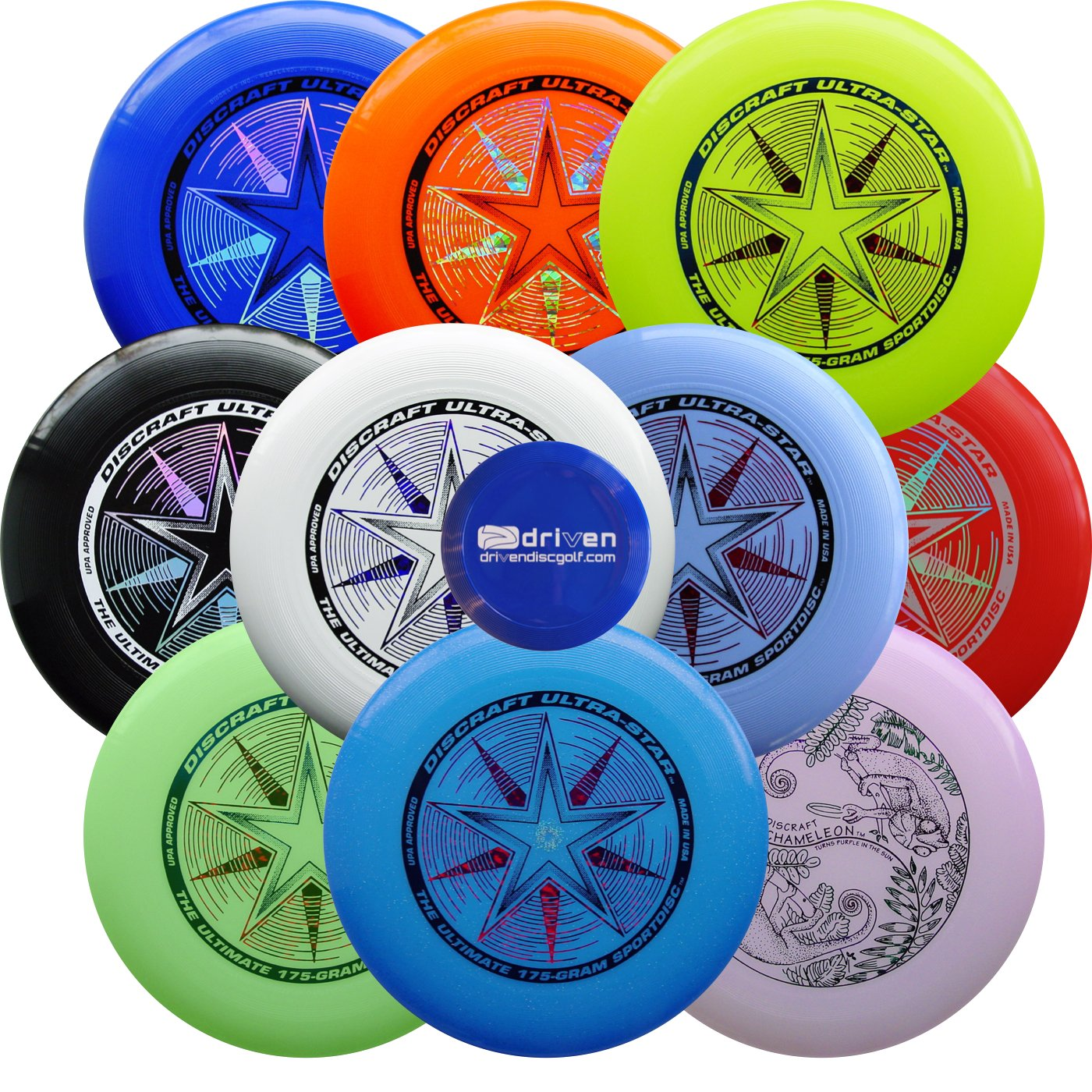 Ultimate Bundle - 10 Discraft Ultra Star Ultimate Sport Discs + Mini Disc by Driven Ultimate Discs