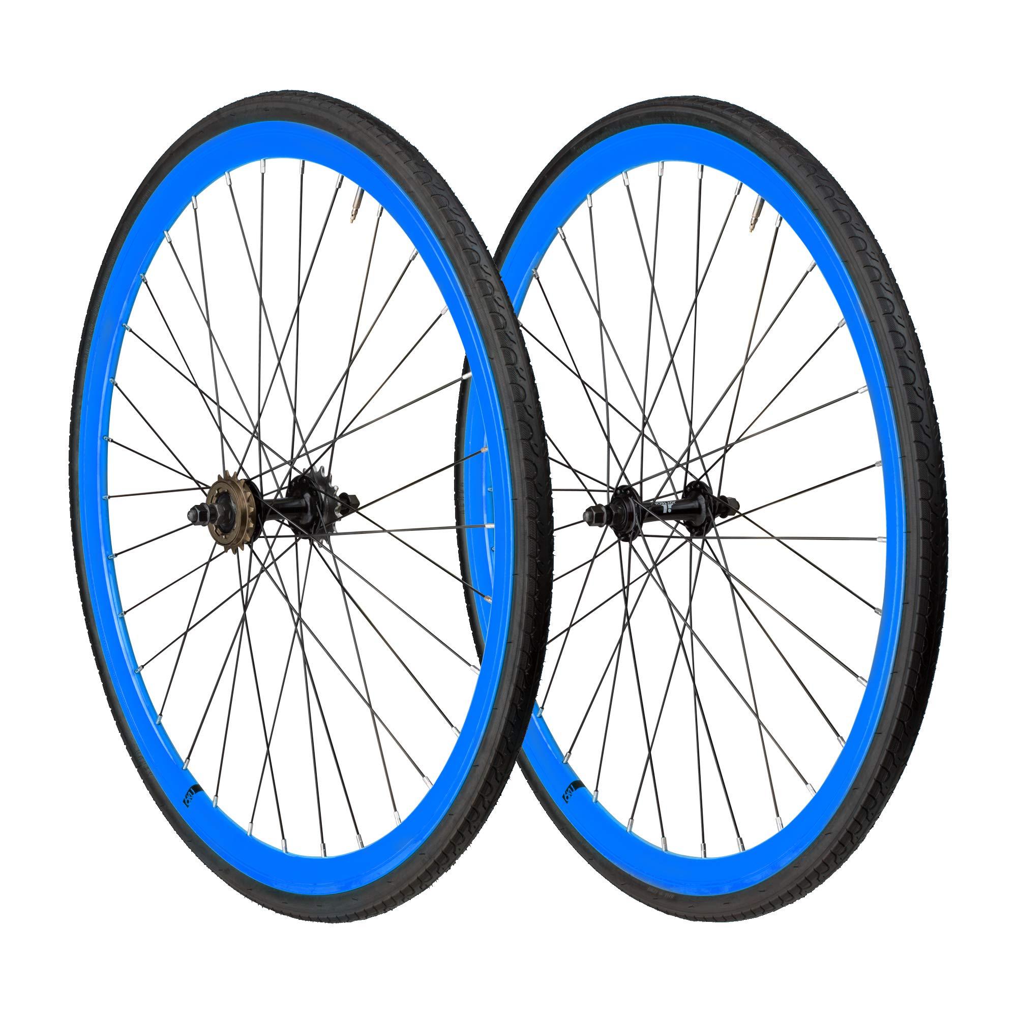 6KU 700C Deep V Alloy Fixie Wheelset, Gloss Blue