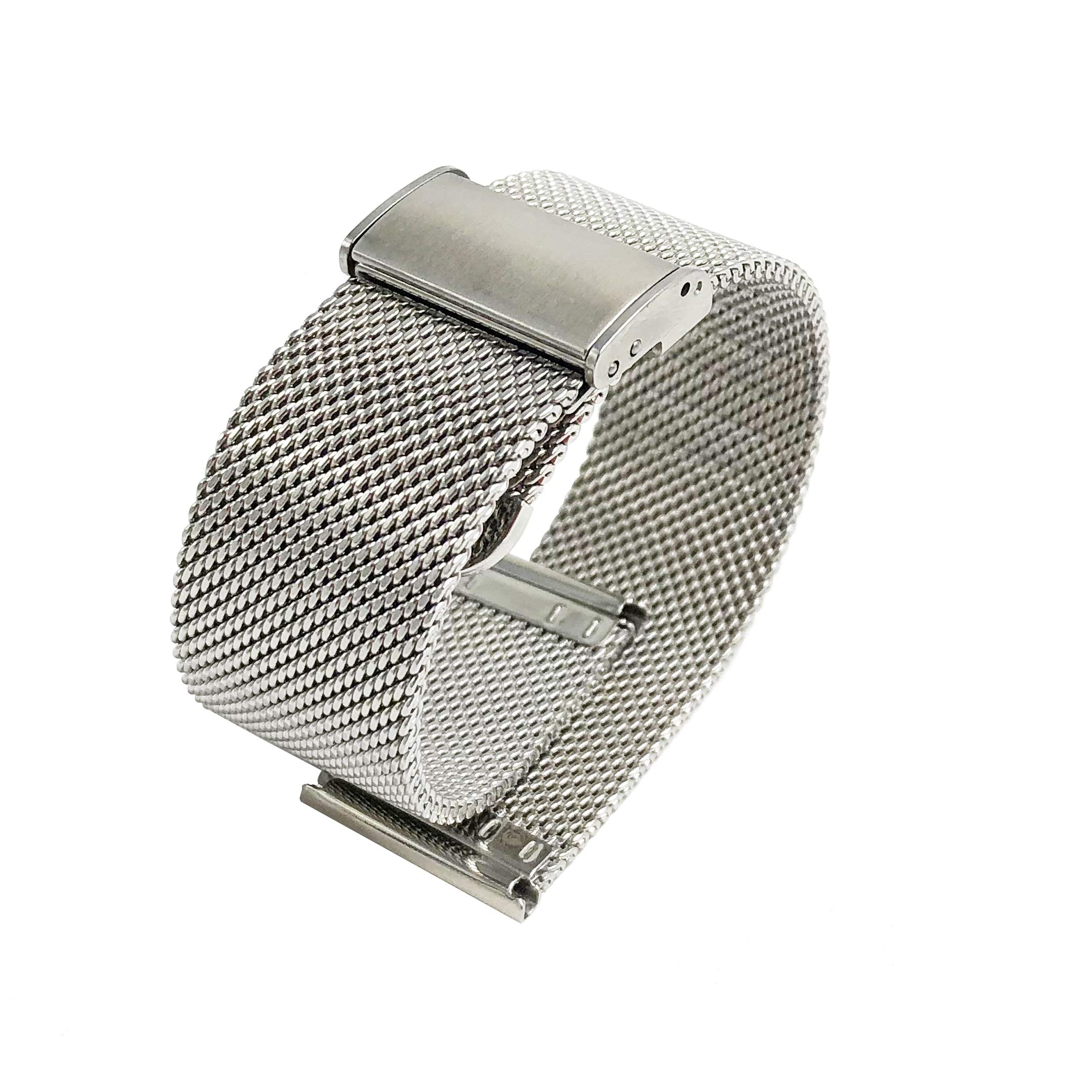 22mm Watch Band Stainless Steel Silver, Wristband Milanese Strap Bracelet Replacement Solid Weave Mesh Band Easy Adjustable Buckle Clasp LeapTop