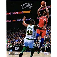 "$111 » Joel Embiid Philadelphia 76ers Autographed 8"" x 10"" vs. Al Horford Photograph - Fanatics Authentic Certified"