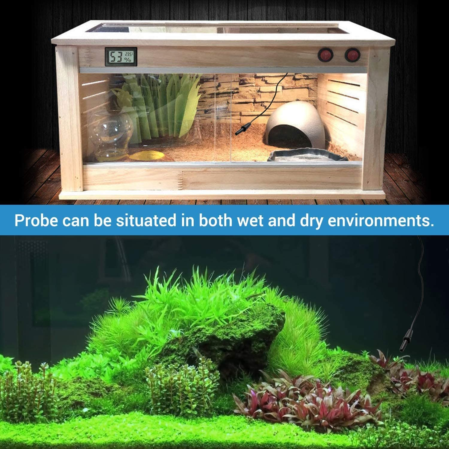 Reptile Terrarium Thermostat Controller Digital Temperature Controller Outlet Thermostat with Suction Cup 1100W 110V