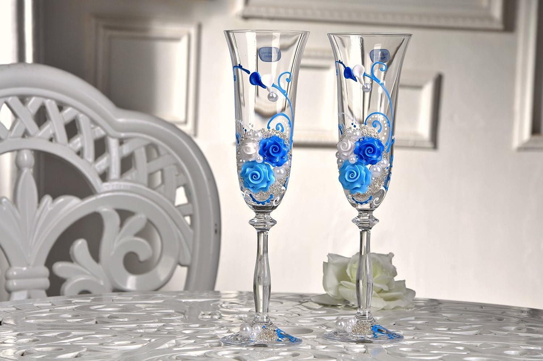 Magik Life Wedding Champagne Toasting Flutes Blue, Ornament Flowers