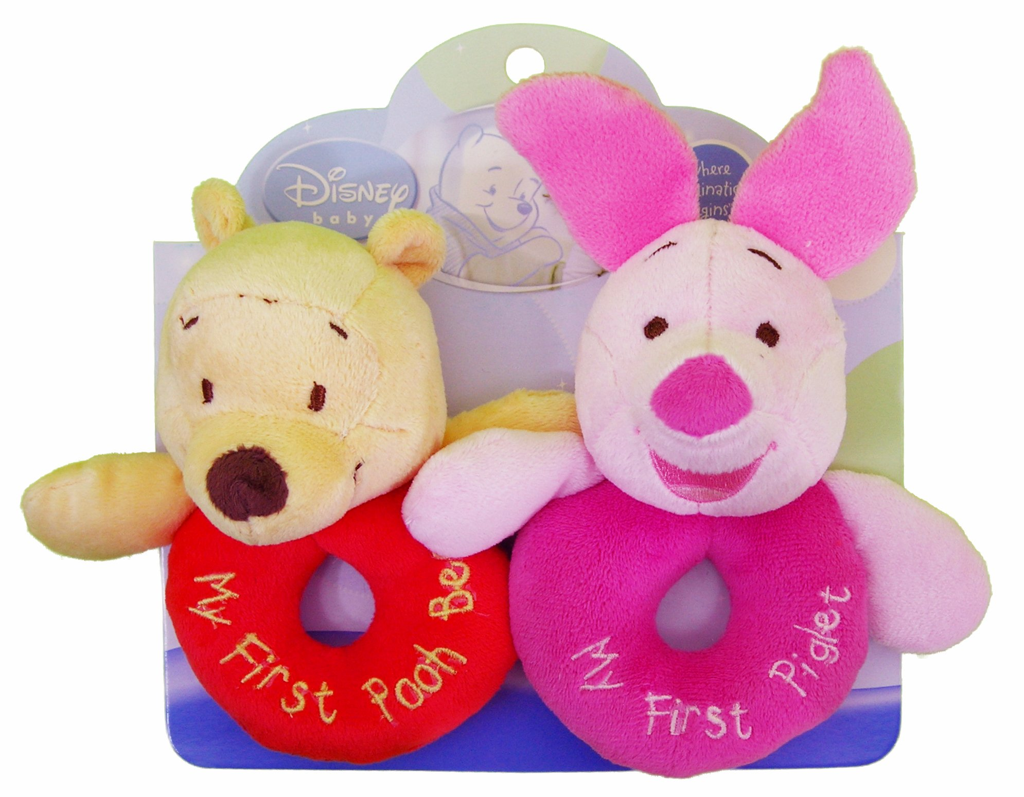 Kids Preferred Disney Baby, Plush Ring Rattles - Winnie the Pooh and Piglet