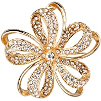 Gold Twisted Petals Flower Crystal Rhinestones Brooches and Pins