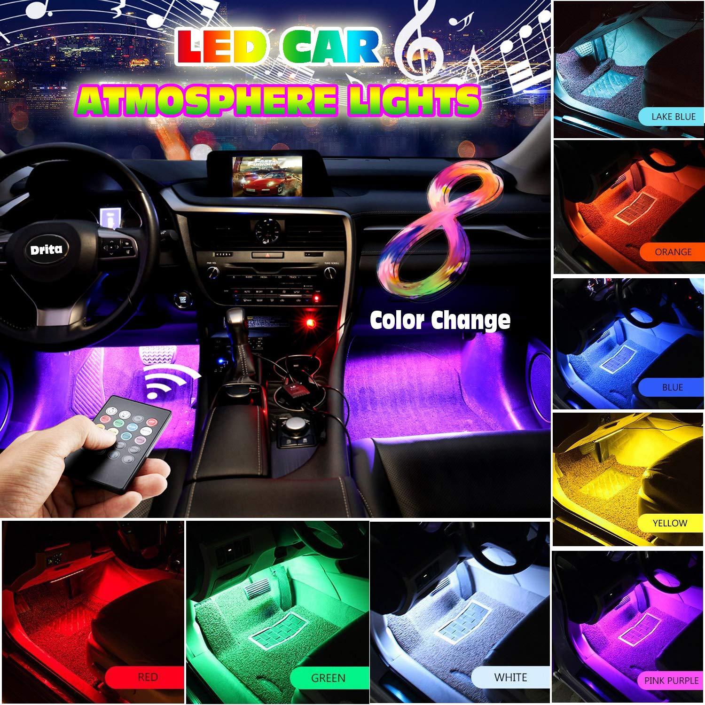 Beautiful 4pc Car Atmosphere Light Wireless Remote Control App Dual Remote Control Foot Light Music Voice Control Rhythm Lamp Decorative Lamp