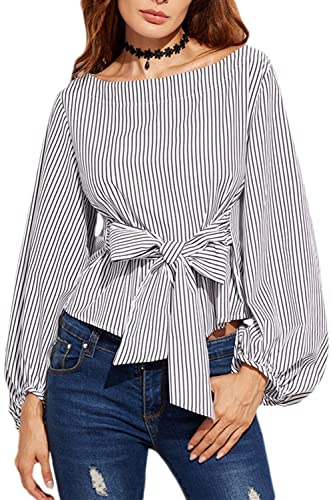 Vintage Puff Manga Cuello Barco Mujer Rayas Blusa Ceñida Camiseta Top Tee