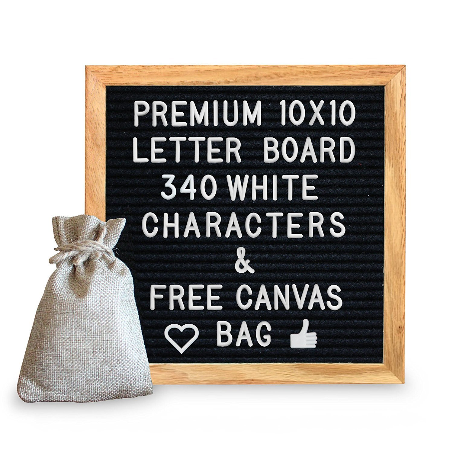 10 x 10 Premium Solid Oak Framed Changeable Letter Board, With Free Canvas Bag, 340 Characters, Including Emojis, Numbers & Punctuation and Wall Mounting Hook