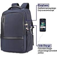 FLYMEI Mochila antirrobo 2018, Mochila Daypack 30L con conector de carga USB, bloqueo de contraseñas, mochila impermeable, Mochila para estudiantes de 12-16 pulgadas, viaje casual, hombres y mujeres colores múltiples (Gris) (Azul)