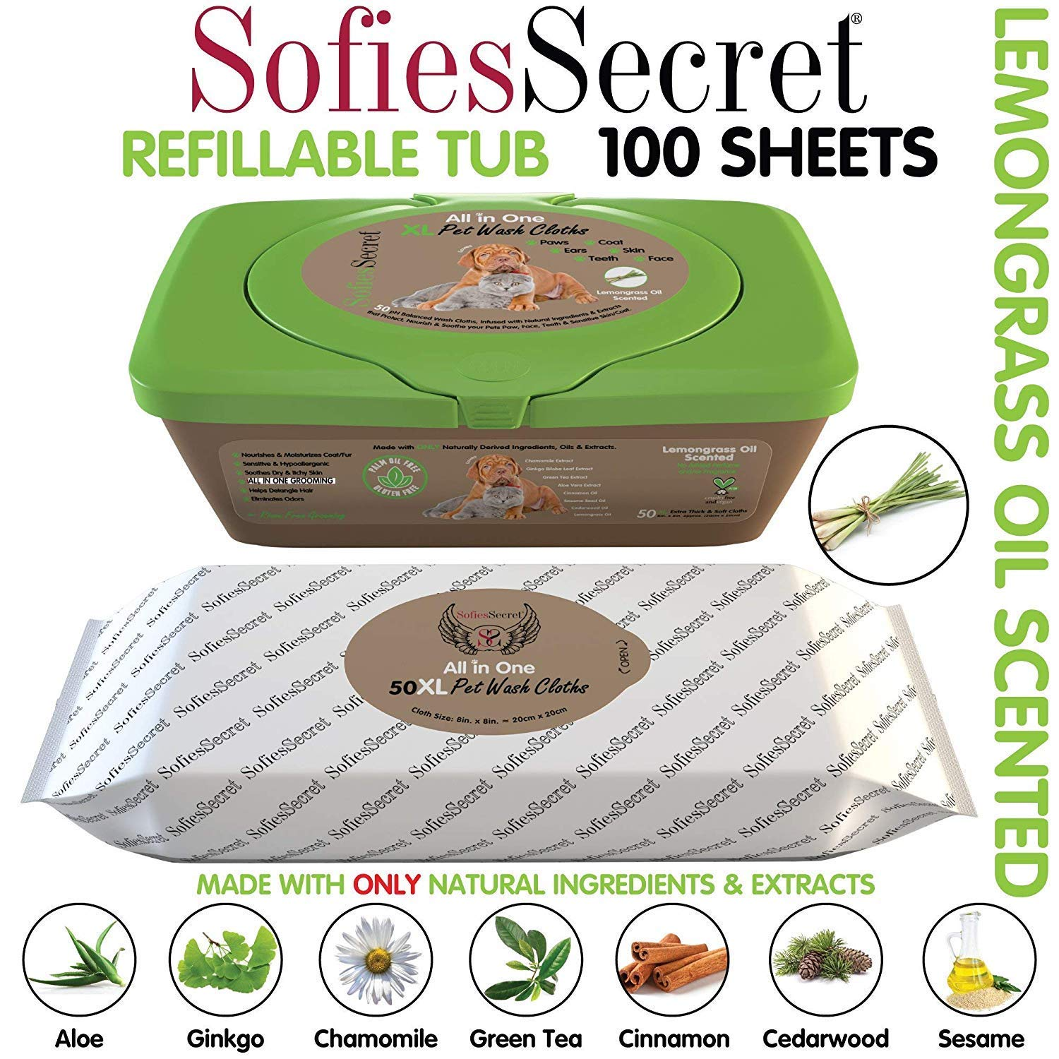 SofiesSecret XL PET Wipes, 100 XL, Lemongrass Oil, All in One Grooming, for Paws, Coat, Skin, Face, Ears and Teeth, Made with only Naturally derived Ingredients, Oils & Extra, Cruelty Free and Vegan