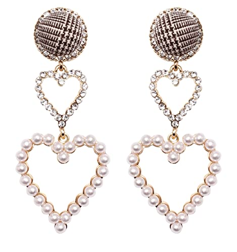 e969b32f1 Amazon.com: MISASHA Heart Imitation Pearl Celebrity Designer Dangle Earrings  For Women: Jewelry