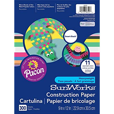 "SunWorks Construction Paper, 11 Assorted Colors, 9"" x 12"", 300 Sheets : Office Products"
