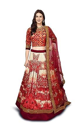 0d7880c64a RAMDEV EMPERIO Bridal Collection Chennai Silk Lehenga choli for women(RED,  Free size,