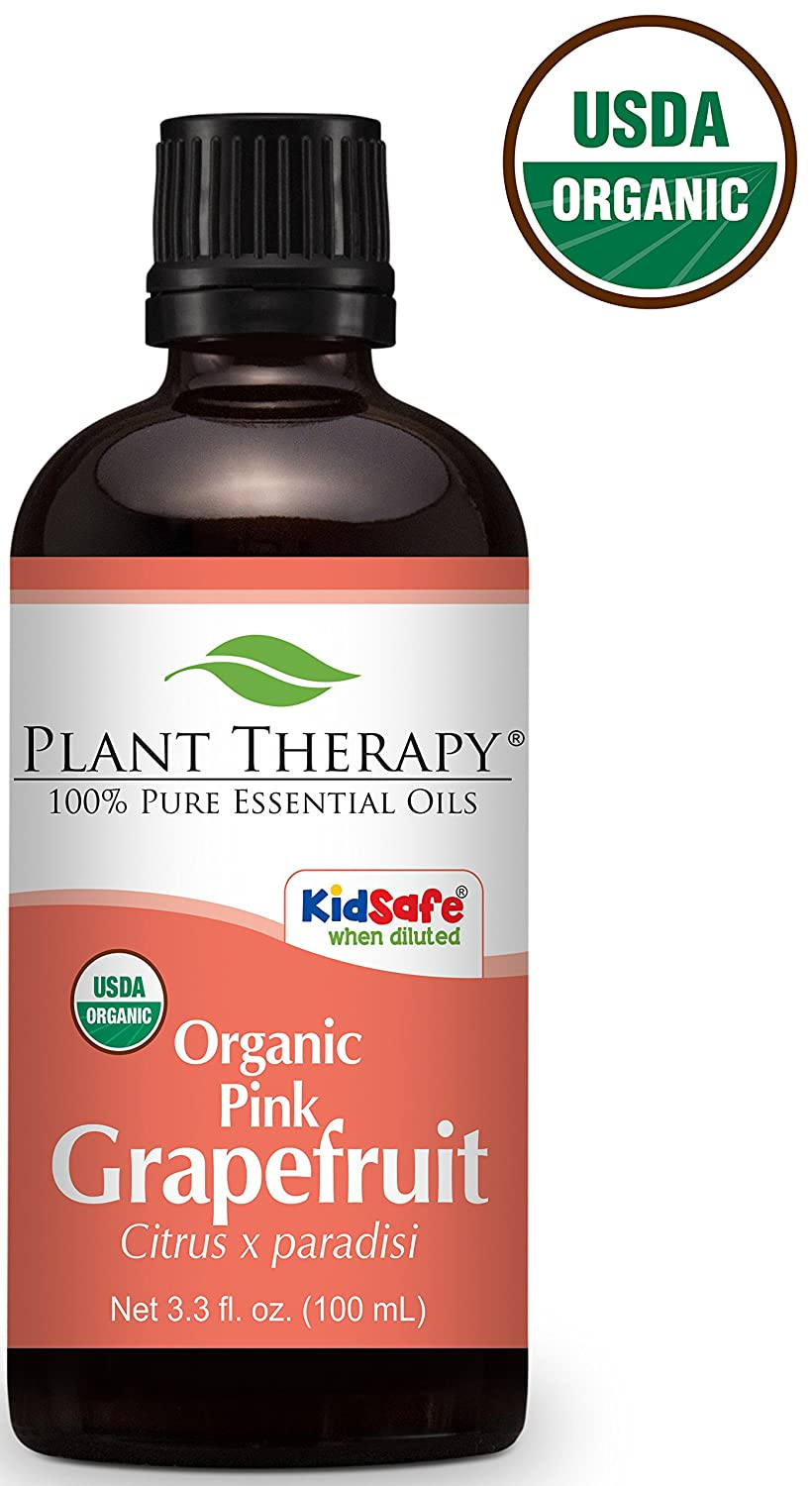 Plant Therapy Grapefruit Pink ORGANIC Essential Oil. 10 ml (1/3 oz) 100% Pure, Undiluted, Therapeutic Grade. Plant Therapy Essential Oils