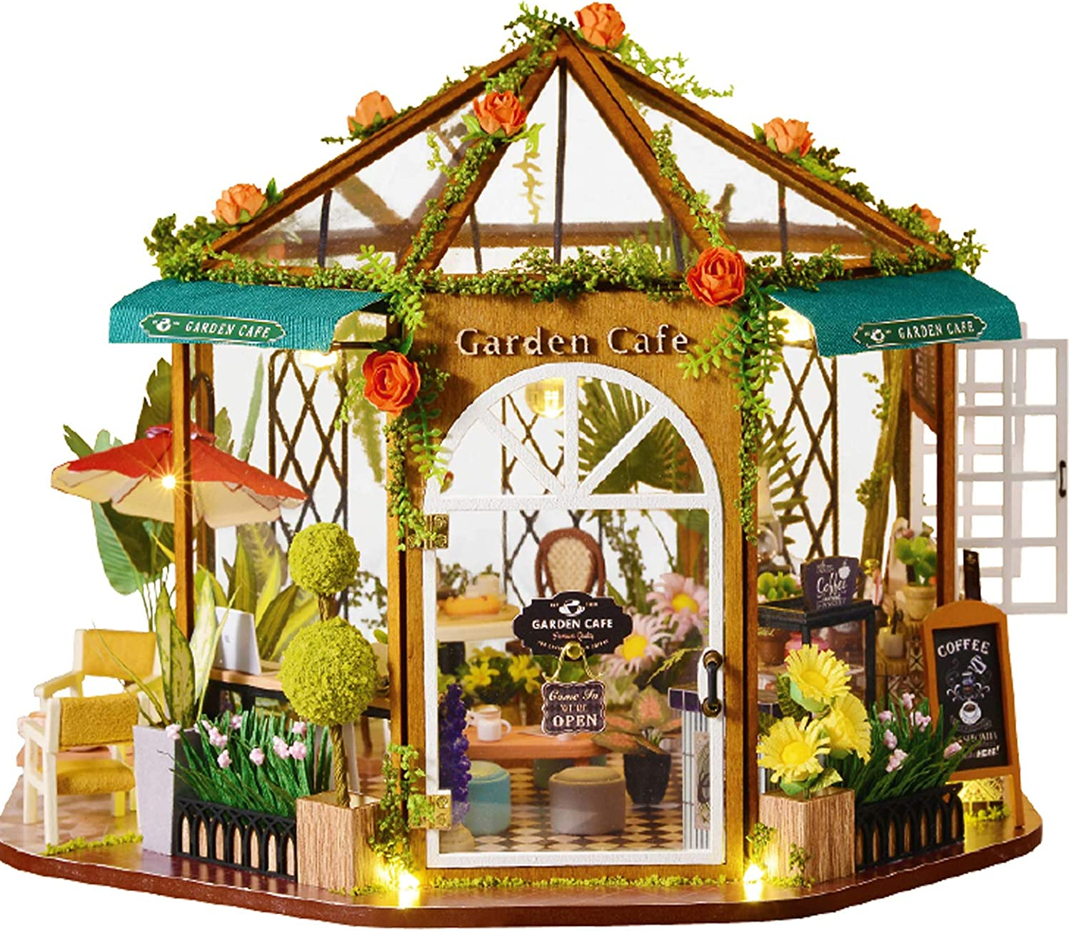 Dollhouse Miniature with Furniture,DIY 3D Wooden Doll House Kit Garden Coffee House Style Plus with Dust Cover and LED,1:24 Scale Creative Room Idea Best Gift for Children Friend Lover GD-001