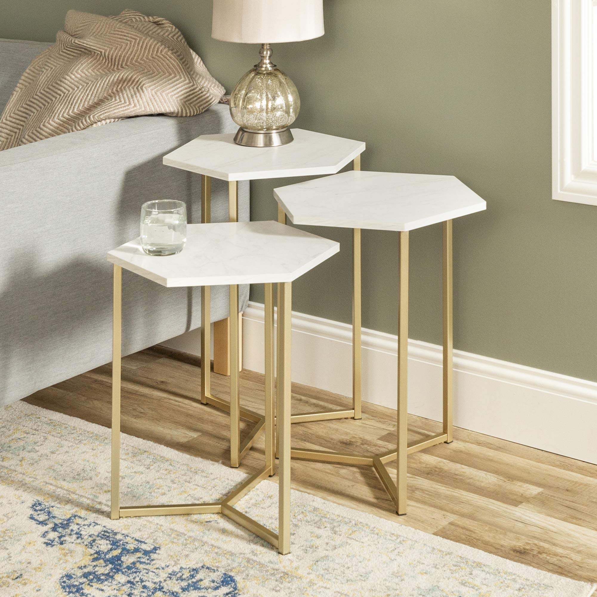 WE Furniture AZF16HEX3WM Modern Hexagon Nesting Side End Table Set Living Room, Set of 3, White Marble, Gold by WE Furniture