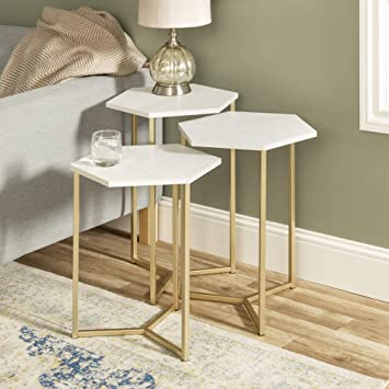 Incredible We Furniture Modern Hexagon Nesting Side End Table Set Living Room Set Of 3 White Marble Gold Pabps2019 Chair Design Images Pabps2019Com