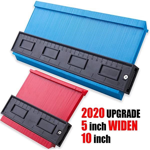 Upgrade 2 Piece Contour Gauge 10inch Blue Widen and 5inch Red Duplicator Shape Profile DIY Woodworking Tools for Corners Contoured