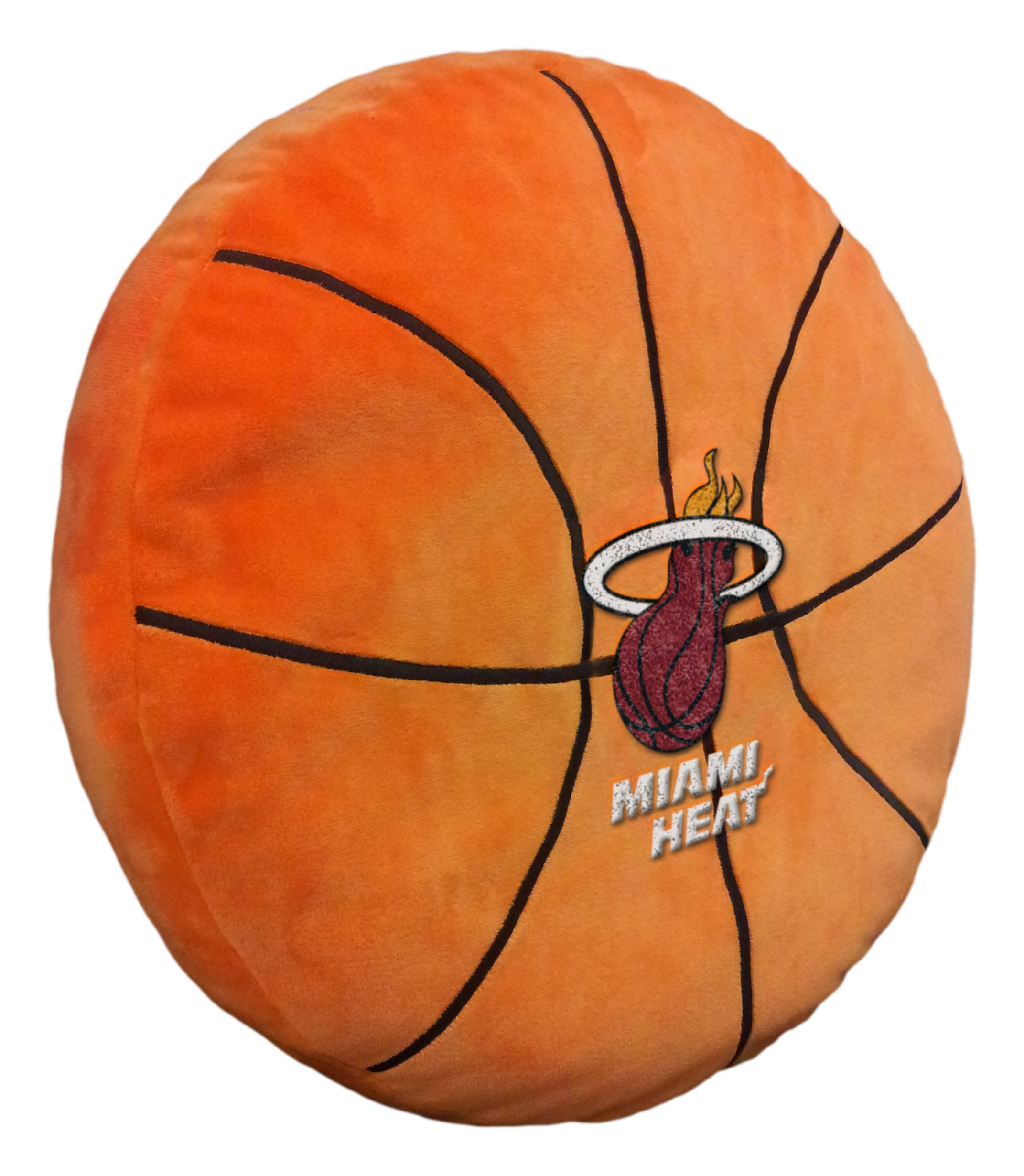 Officially Licensed NBA Miami Heat ''3D'' Basketball Shaped Pillow, Orange, 15'' x 15'' x 2'' by The Northwest Company