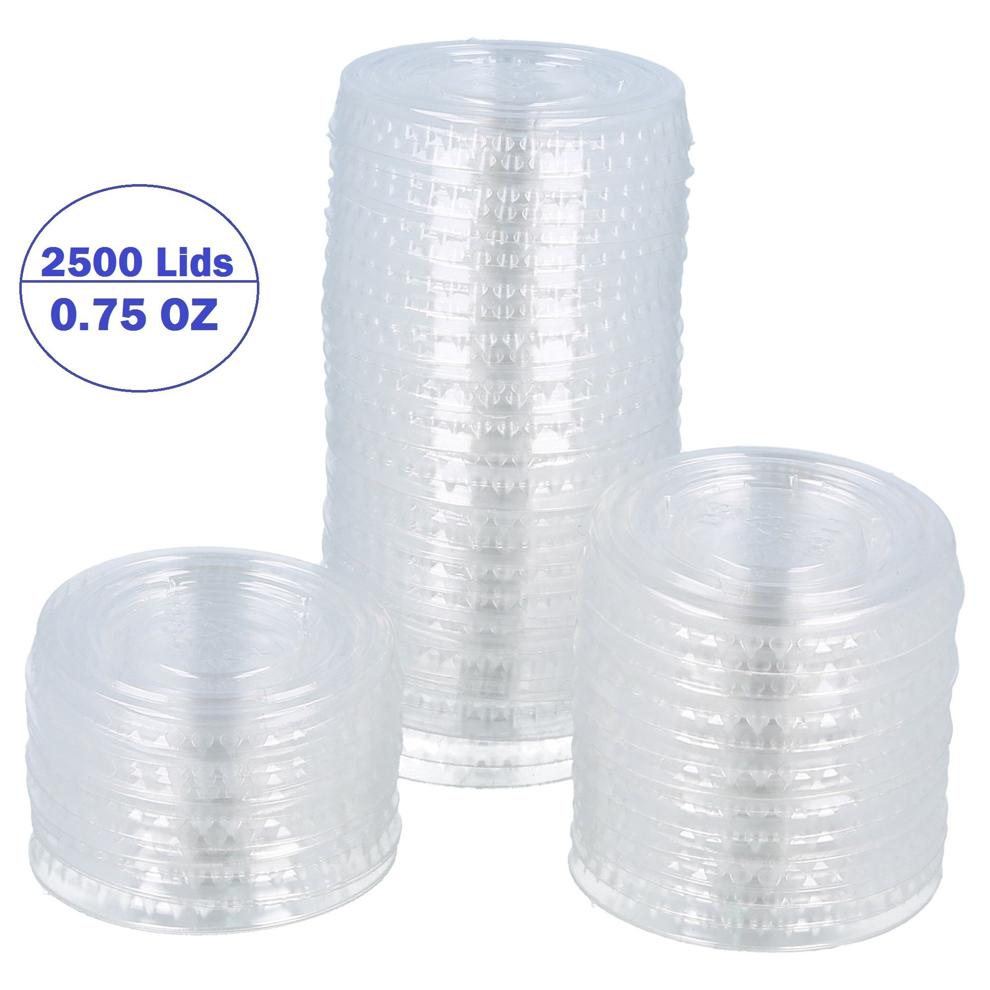 Clear Plastic Durable Disposable Portion Sample Cup Cover Lids Condiments Food Drinks Souffle Sauces Home, Kitchen, Takeout, Dining, Restaurant, Cups Sold Separately (Case of 2500 Lids, 0.75 oz)