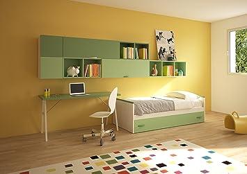Giessegi bit chambre pour enfants avec lits et bureau bois
