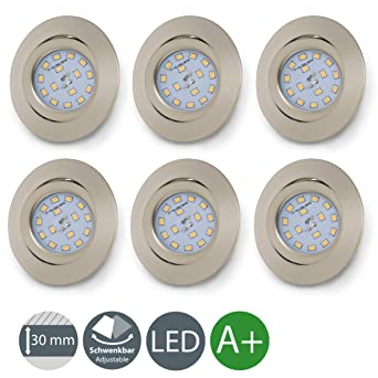 Foco empotrable extraplano Ø 82 mm, 6 x 5W Bombillas LED 3000K, 230 V