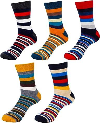HBF Calcetines Termicos Hombre Algodon Calcetines Hombre Colores Calcetines Hombre Invierno (5 pares calcetines rayas): Amazon.es: Ropa y accesorios