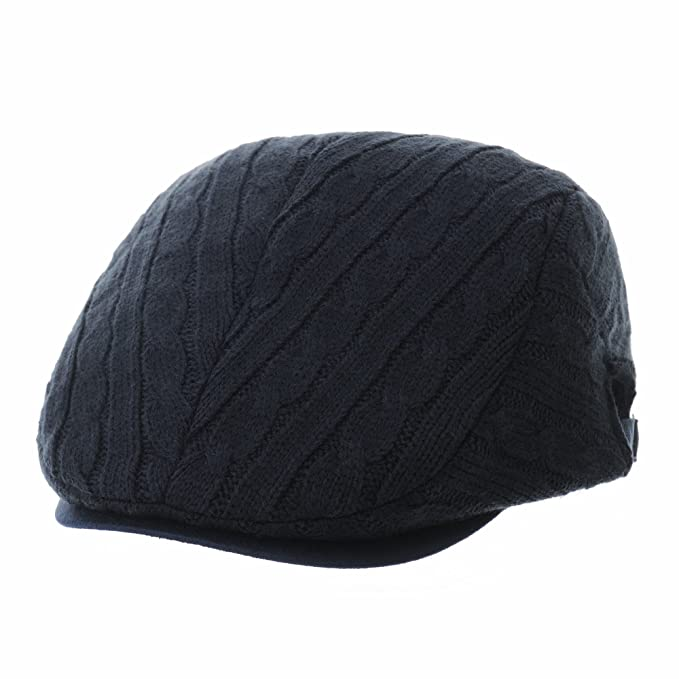 274c21a9dd WITHMOONS Coppola Cappello Irish Gatsby Newsboy Hat Twisted Knitted Stripes Simple  Flat Cap CR3799 (Navy