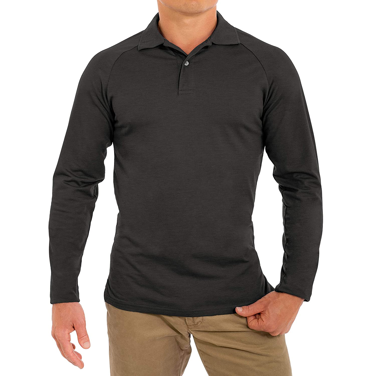 Soft Fitted Breathable Mens Long Sleeve Polo Shirts CC Perfect Slim Fit Long Sleeve Polo Shirts for Men