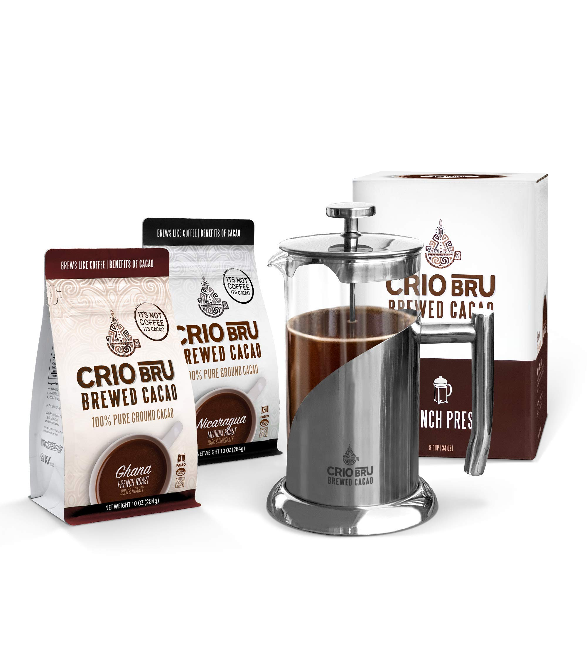 Crio Bru Welcome Starter Kit (2 10oz Bags + French Press)   Natural Healthy Brewed Cacao Drink   Great Substitute to Herbal Tea and Coffee   99% Caffeine Free   Keto Honest Energy
