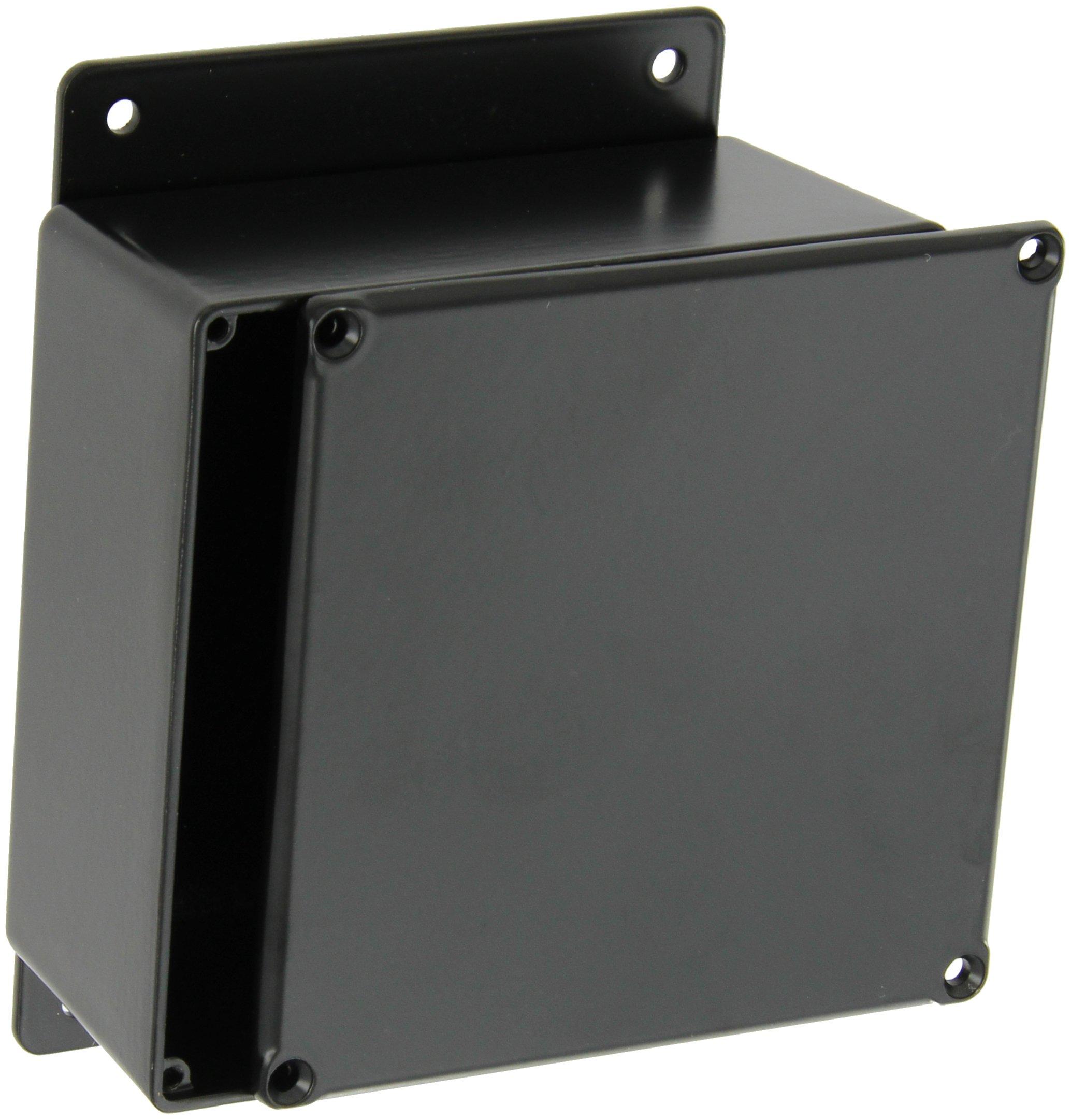 BUD Industries CU-4474-B Die Cast Aluminum Econobox with Mounting Bracket, 4-3/4'' Length x 4-3/4'' Width x 2-21/64'' Height, Black Powdercoat Finish