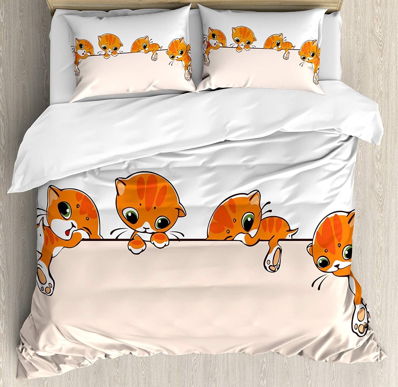 Infinidesign Cat Lightweight Microfiber Duvet Cover Set Twin Size, Banner with Little Kitties Felines Over Jumping The Walls Free Artful Design, 4 Piece Bedding Set, Orange Cream White
