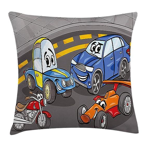 Boys Room Throw Pillow Cushion Cover, Comic Cars and ...