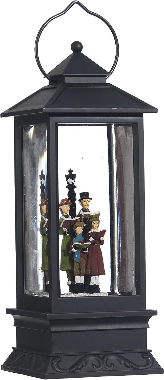 Raz Imports Lighted Snow Globe Lantern: 11 Inch, Black Holiday Water Lantern (Carolers)