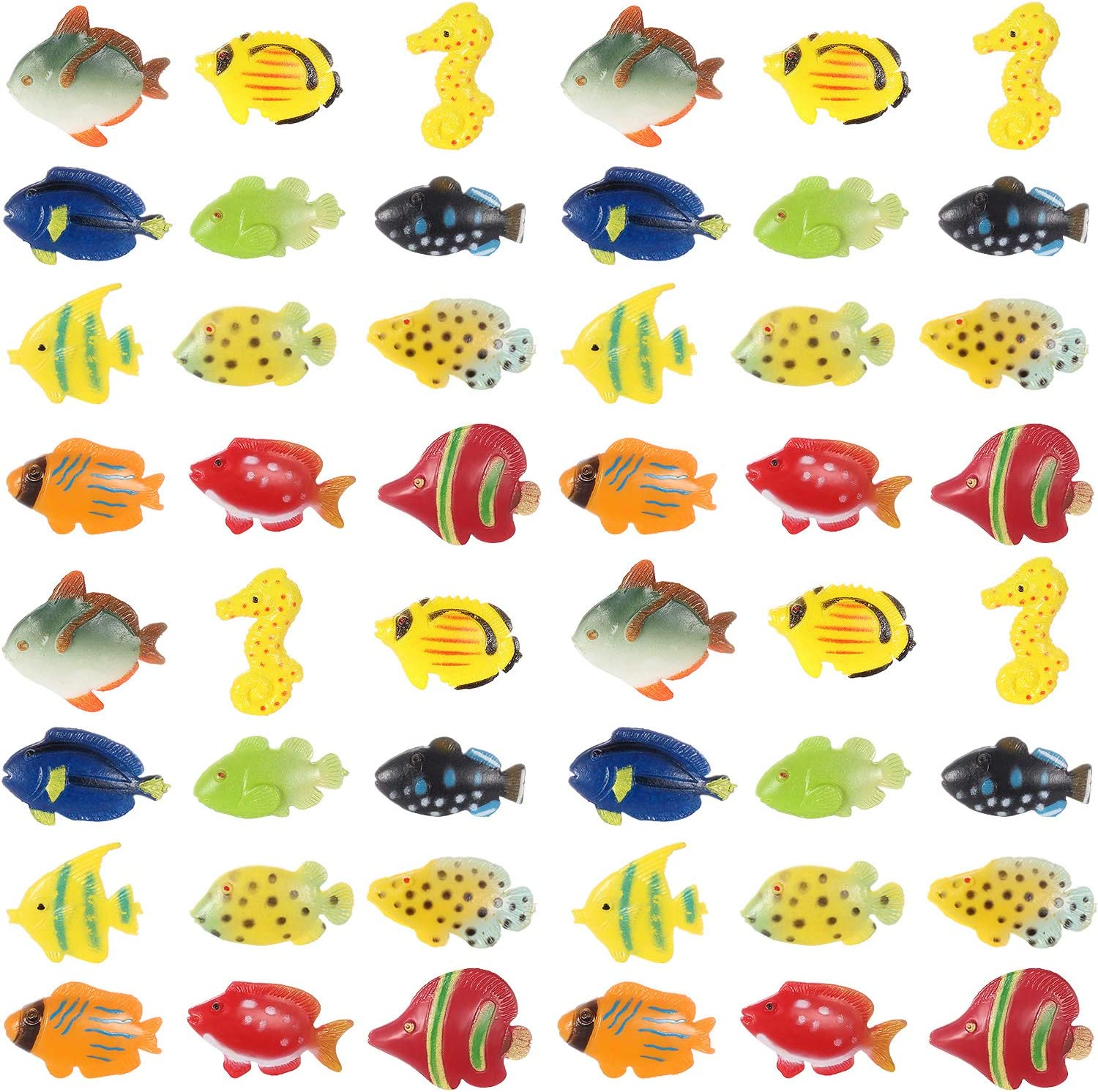 Boao 48 Pieces Tropical Fish Figure Play Set, Tropical Fish Party Favors, Assorted Plastic Fish Toys, Sea Animals Toys for Kids,1.5 Inch Long