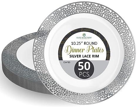 Amazon.com: Platos desechables de plástico (50 unidades ...