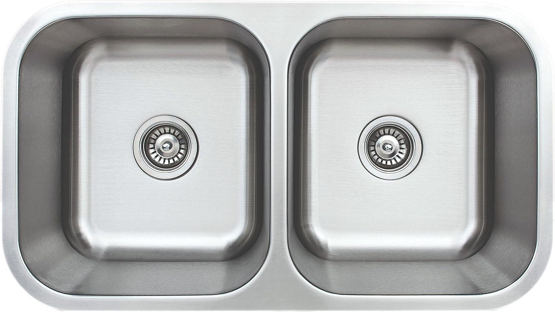 "Wells Sinkware CMU3318-99 Craftsmen Series Kitchen Sink, 33"" 50/50 9"" Deep, Brushed Matte Finish"