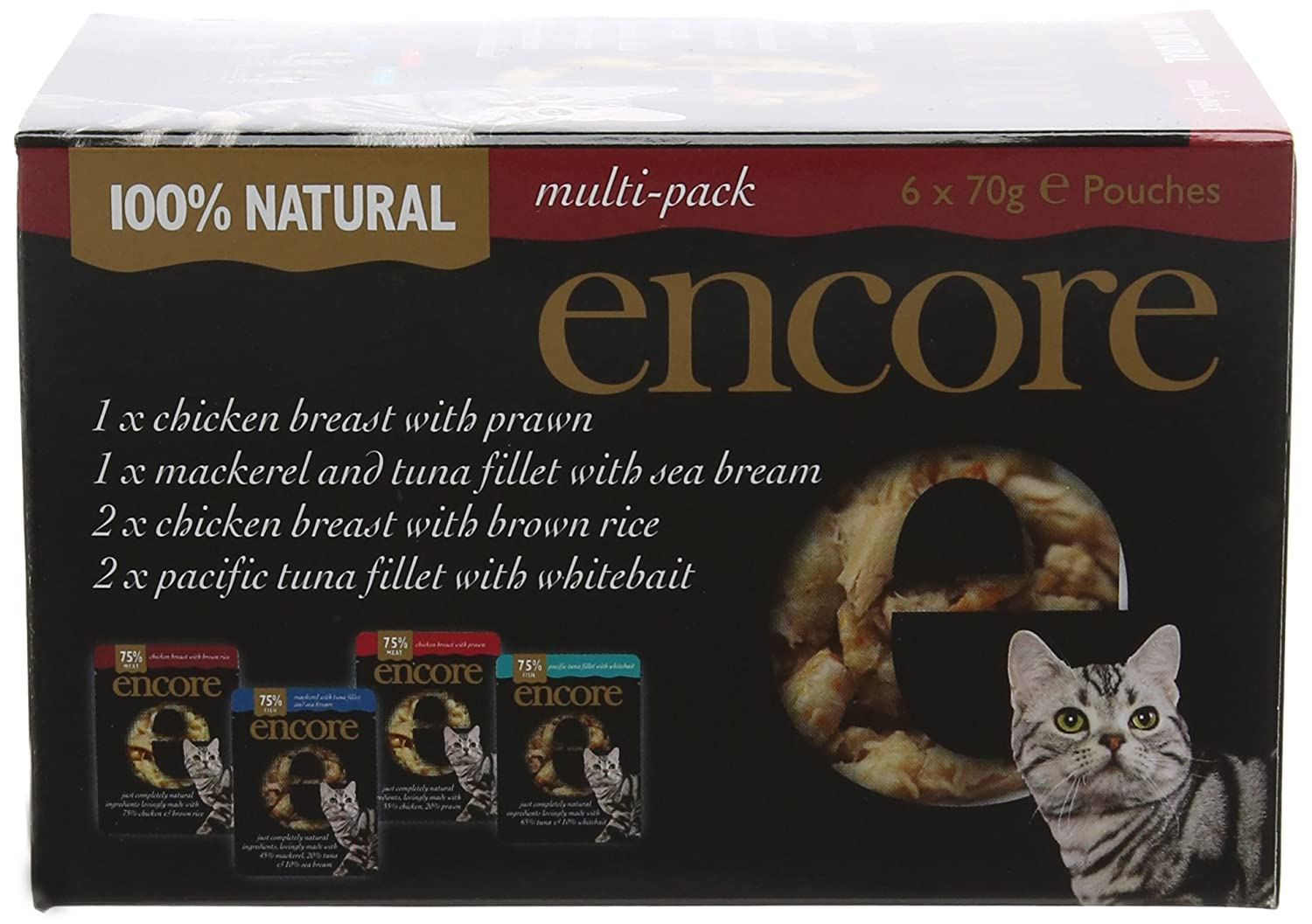 Encore Cat Pouch Multipack 70 g x 6 (Pack of 6)