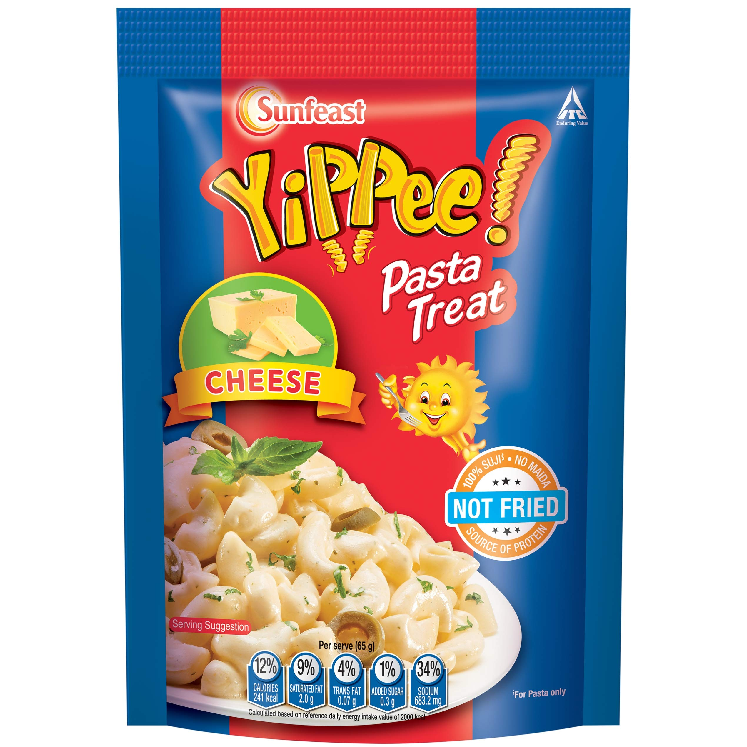 Sunfeast YiPPee! Pasta Treat | Cheesy and Soft Suji, Rawa Pasta | Cheese | 65g pack