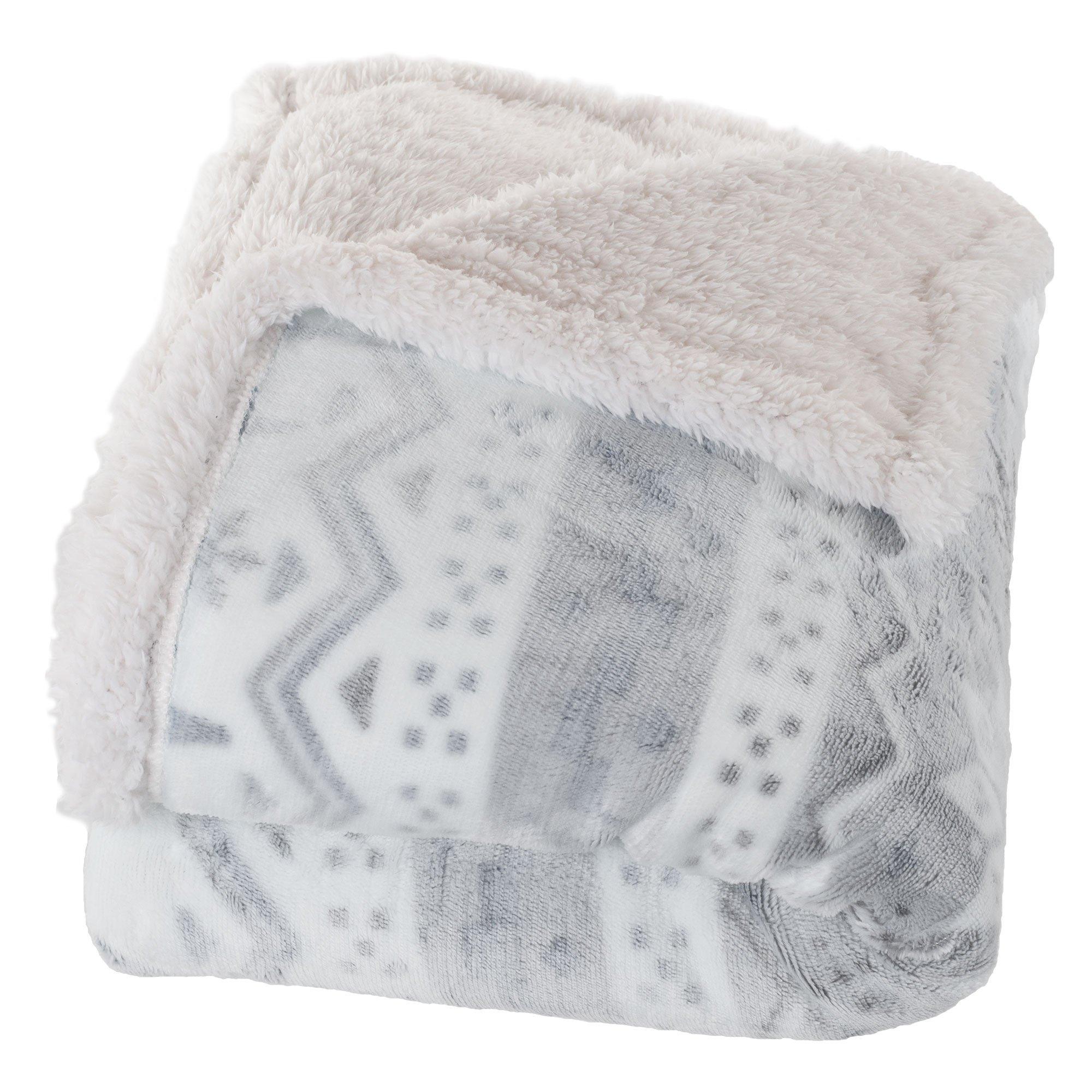Bedford Home Fleece Sherpa Blanket Throw Blanket, Snow