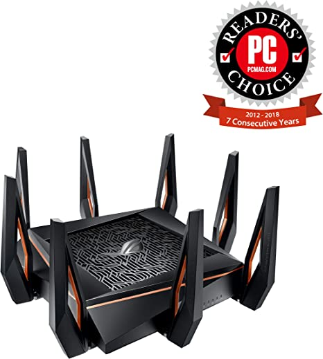 Asus ROG Rapture GT-AX11000 AX11000 Tri-Band 10 Gigabit WiFi Router, Aiprotection Lifetime Security by Trend Micro, Aimesh Compatible for Mesh WIFI ...