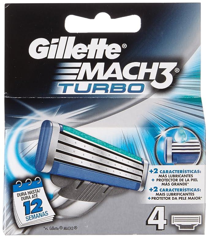 Gillette Mach3 Turbo Recambio de Hojas de Afeitar para Hombre - 4 unidades: Amazon.es: Amazon Pantry