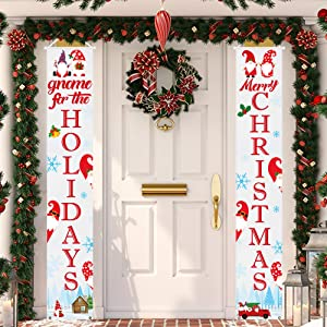 Tifeson Christmas Gnome Porch Sign Christmas Decorations Outdoor Indoor | Welcome Merry Christmas Gnome Porch Signs Hanging Banners for Home Wall Front Door Xmas Holiday Decor