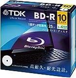 TDK データ用ブルーレイディスク BD-R 25GB 1-4倍速 ホワイトワイドプリンタブル 10枚 5mmスリムケース BRD25PWB10A