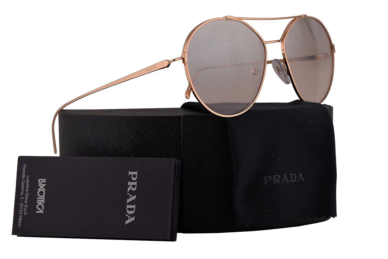 5a85687f5a3 Amazon.com  Prada PR56US Sunglasses Pink Gold w Brown Mirror Silver  Gradient 55mm Lens SVF204 SPR56U PR 56US SPR 56U  Clothing