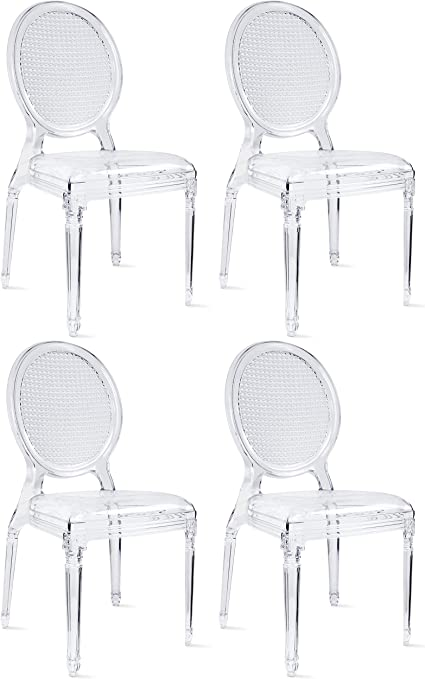 Amazon Com 2xhome Set Of 4 Stackable Stacking Chairs Designer Polycarbonate Dining Room Chair No Arms Side Acrylic For Kitchen Outdoor Patio Crystal Transparent With Decorative Oval Back Design Clear Chairs